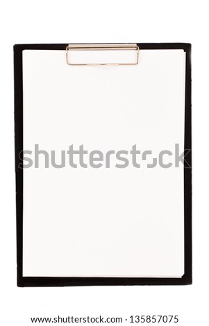 Clear paper on a map-case isolated over white background