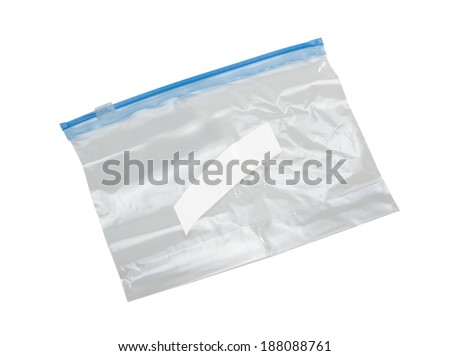 clear plastic bag with lock isolated on white background - stock photo