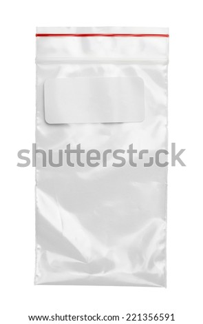 Clear Plastic Bag With Red Seal and Label Isolated on White Background. - stock photo