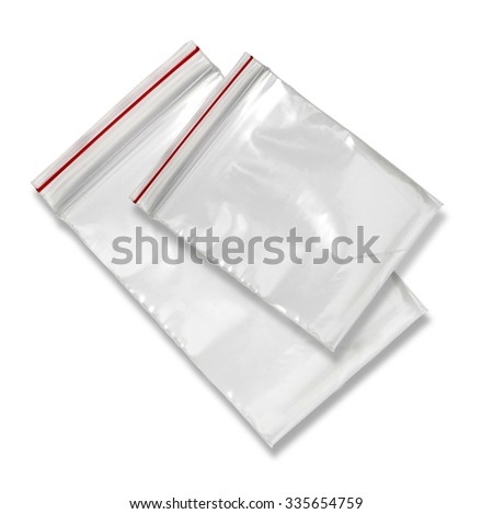 Clear Plastic Bags With Red Seal Isolated on White Background. - stock photo