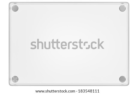 Clear plastic or Glass display plaque with metal bolts isolated in front of a white background. - stock photo