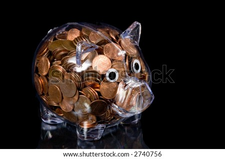 Clear Bank Clear Plastic Piggy Bank Full