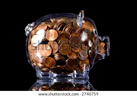 Clear Bank Clear Plastic Piggy Bank Full
