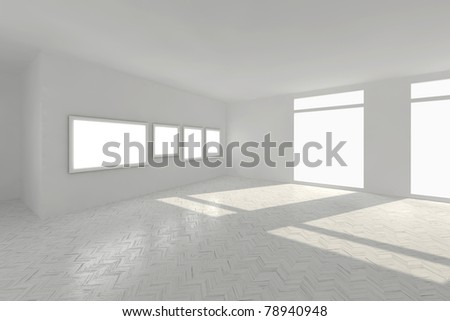 clear room with parquet