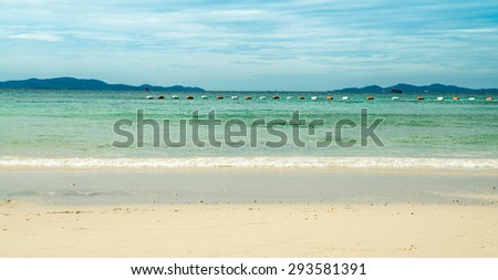 Clear sea and tropical beach on island, at koh lan island Pattaya city Chonburi Thailand.