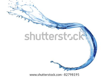 Clear shape of thrown  blue tinted water on white background - stock photo