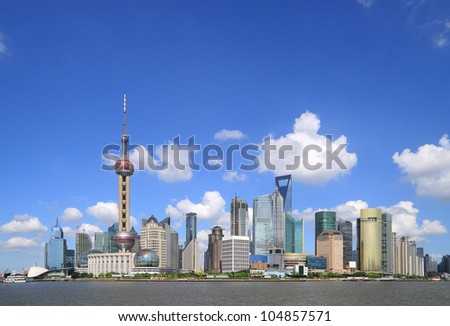 Clear Skies  Shanghai city of modern architecture backgrounds  skyline - stock photo
