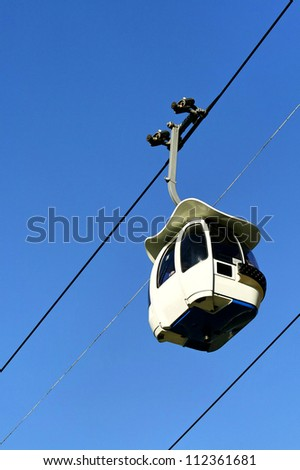 Clear sky and cable car