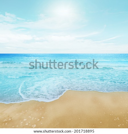 Clear sky and island beach. Summer shot - stock photo