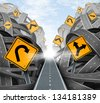 Clear strategic solution for business leadership with a straight path to success choosing the right strategy path with yellow traffic signs cutting through a maze of tangled roads and highways. - stock vector