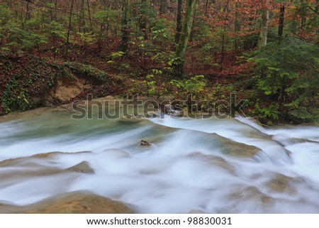 Clear stream and November foliage in remote mountain location