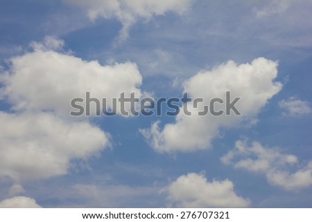Clear summer light blue sky with slightly cloudy - stock photo