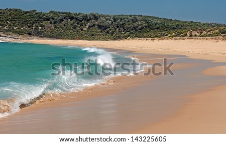 Clear Surf on Remote Sand Beach off Sydney, Australia - stock photo