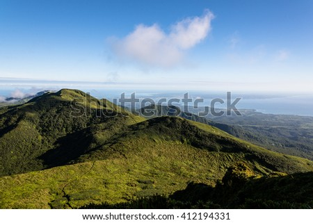 """Clear view over Guadeloupe, on the summit of volcano """"La Soufriere"""", Guadeloupe - stock photo"""