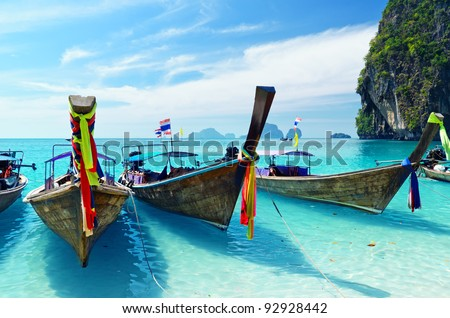 Clear water and blue sky. Krabi province, Thailand. - stock photo