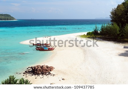 Clear water and blue sky. Lipe island, Thailand. - stock photo