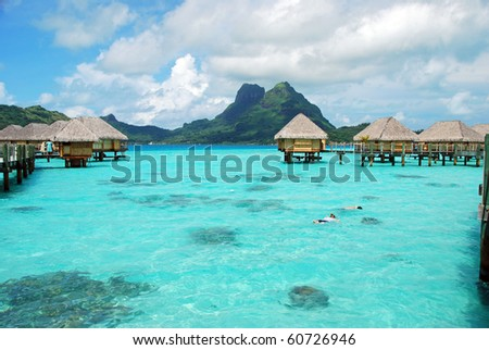 clear water and cloudy sky - stock photo