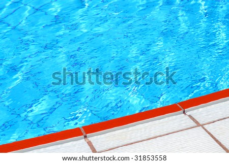 Clear water and red border. Swimming pool abstract background - stock photo