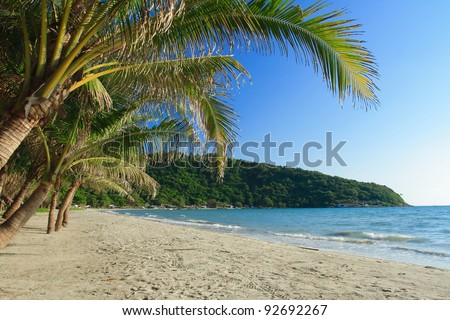 Clear water and white sand beach in daytime , Thailand. - stock photo