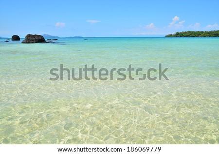 Clear Water Beach in Summer Season - stock photo