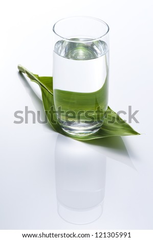 Clear water into the glass with fresh green leaf - stock photo