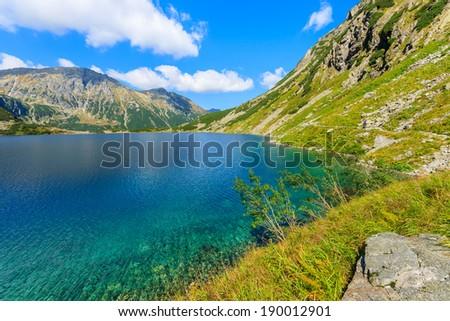 Clear water of a mountain lake Czarny Staw near Morskie Oko on sunny summer day, High Tatra Mountains, Poland - stock photo