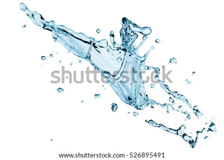 Clear water splash with drops. Isolated on a white