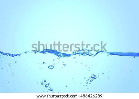 Clear water waves blue background.