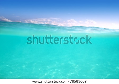 clear waterline caribbean sea underwater and blue sea - stock photo