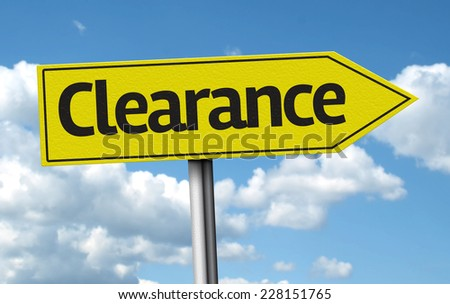 Clearance creative sign on a beautiful day - stock photo