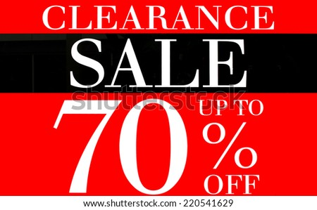 Clearance Sale up to 70 Percents Promotion Label - stock photo