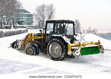 clearing snow snowplows - stock photo