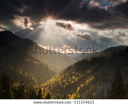 Clearing Storm in the Smoky Mountains at sunset - stock photo
