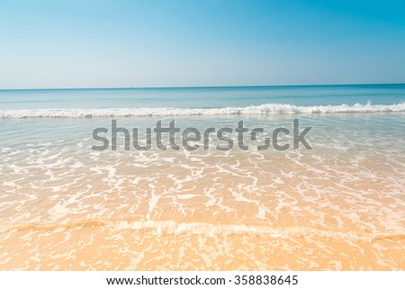 Clearly nice blue sea blue sky and yellow beach in summer of Thailand. - stock photo