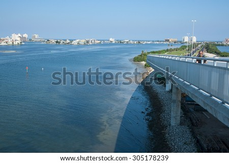 Clearwater Beach photographed from the Clearwater Memorial Causeway in 2005 - stock photo