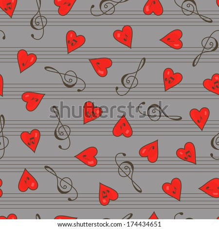 Clef. Hearts. Notes. Clef and hearts with music notes seamless pattern.  Music seamless pattern. Abstract seamless background. Valentine's Day. Gray background. - stock photo