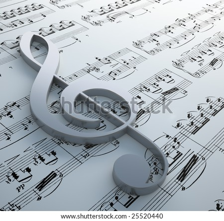 Clef symbol on a notation chart (Claude Debussy - Danse) - stock photo