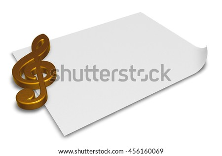 clef symbol on blank white paper sheet - 3d rendering - stock photo