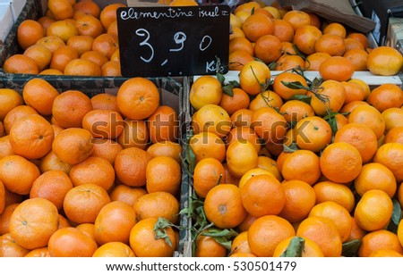 Clementines from Israel for sale at a farmers market in the Town of Nice in France