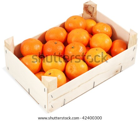 Clementines in container. Isolated against white background.