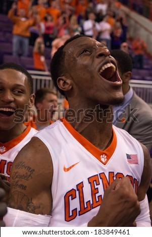 Clemson, SC, USA - March 25, 2014: Clemson's Adonis Filer rejoices after a win over Belmont to earn a trip to the NIT Tournament championship semi-finials in Madison Square Garden