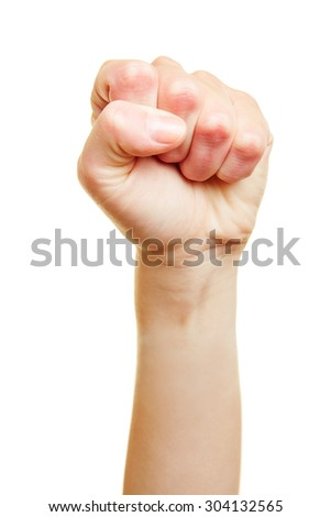 Clenched fist as symbol of protest and resistance