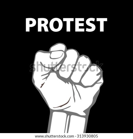 clenched fist held in protest illustration. art freedom - stock photo