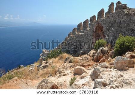 cleopatra beach in alanya in turkey - stock photo