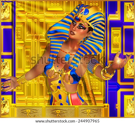 Cleopatra or any Egyptian Woman Pharaoh. Modern digital art fantasy. Set on a gold and blue abstract background to enhance the image of Egyptian wealth, beauty and power.Beautiful cosmetics and face.  - stock photo