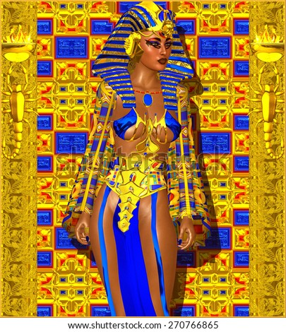 Cleopatra or any Egyptian Woman Pharaoh. Modern digital art fantasy. Set on a gold and blue abstract background to enhance the image of Egyptian wealth,beauty and power.Beautiful cosmetics and face. - stock photo