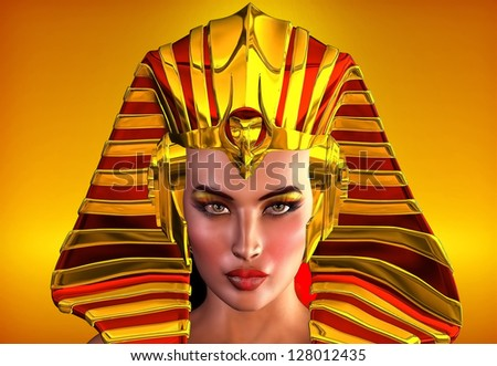 Cleopatra,The Face Of Egypt. This is a romanticized portrait of the first female pharaoh of Egypt, Hatshepsut.  Inspiration for use as Nefertiti, Cleopatra, or to portray any ancient Egyptian queen. - stock photo