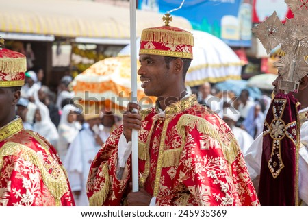 Clergy of the Ethiopian Orthodox church during a colorful procession of the Timket (Epiphany) celebrations, on January 19, 2015 in Addis Ababa. - stock photo