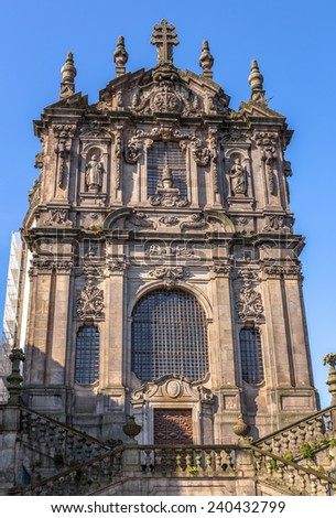Clerigos church in downtown Porto. - stock photo