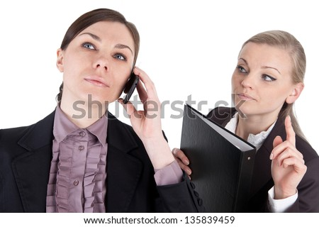 Clerk try to get the attention of her teammate - stock photo